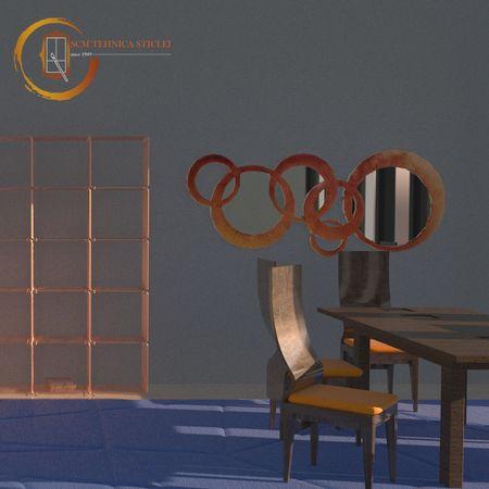 Oglindă cu ramă rotundă portocalie - Oxigen