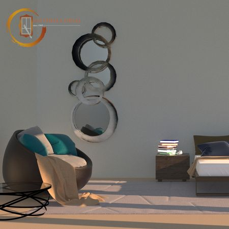Oglindă cu ramă rotundă argintie - Oxigen