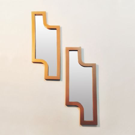 Oglindă decorativă tip puzzle cu ramă din lemn