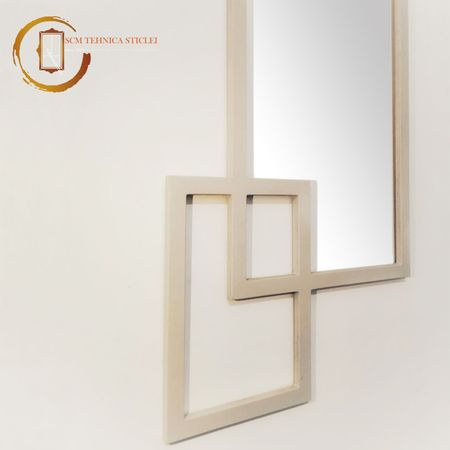 Oglindă dreptunghiulară cu ramă din lemn - Curgerea timpului